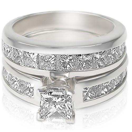 3.20-4.35 CT Princess Cut Diamonds - Bridal Set