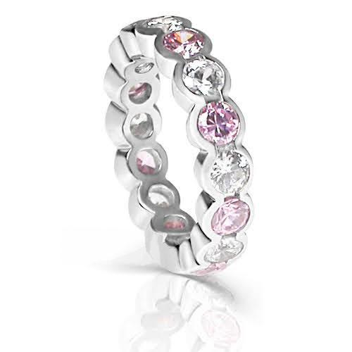 4.10 CT Round Cut Pink Sapphires & Diamonds - Eternity Ring