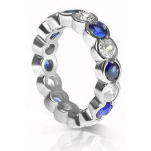 Load image into Gallery viewer, 4.10 CT Round Cut Blue Sapphires & Diamonds - Eternity Ring