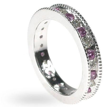 1.50 CT Round Cut Pink Sapphires & Diamonds - Eternity Ring