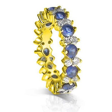Load image into Gallery viewer, 4.00 CT Round Cut Blue Sapphires & Diamonds - Eternity Ring