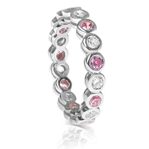 1.55 CT Round Cut Pink Sapphires & Diamonds - Eternity Ring