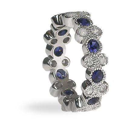 1.90 CT Round Cut Blue Sapphires & Diamonds - Eternity Ring