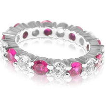 Load image into Gallery viewer, 4.10 CT Round Cut Rubies & Diamonds - Eternity Ring