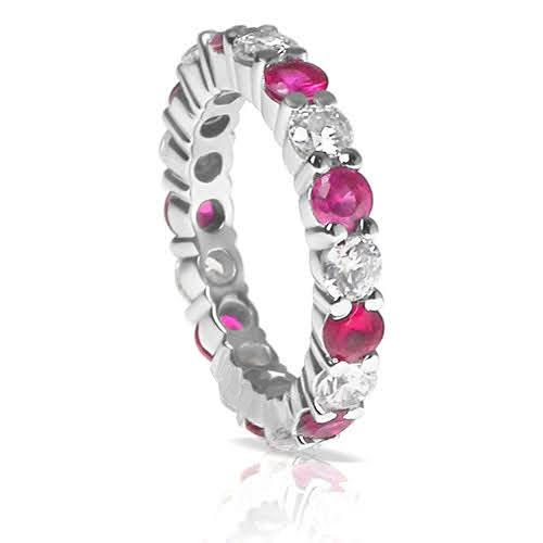4.10 CT Round Cut Rubies & Diamonds - Eternity Ring
