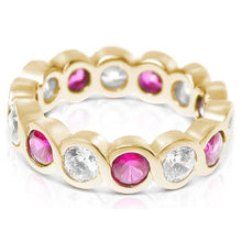 Load image into Gallery viewer, 3.20 CT Round Cut Rubies & Diamonds - Eternity Ring