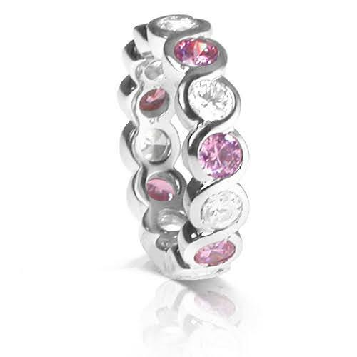 3.20 CT Round Cut Pink Sapphires & Diamonds - Eternity Ring