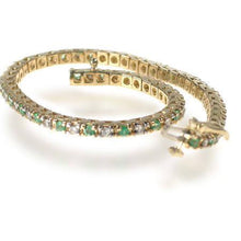 Load image into Gallery viewer, 1.00-6.00 CT Round Cut Green Emeralds & Diamonds - Color Stones Bracelet