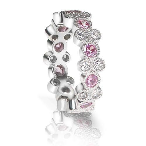 1.90 CT Round Cut Pink Sapphires & Diamonds - Eternity Ring