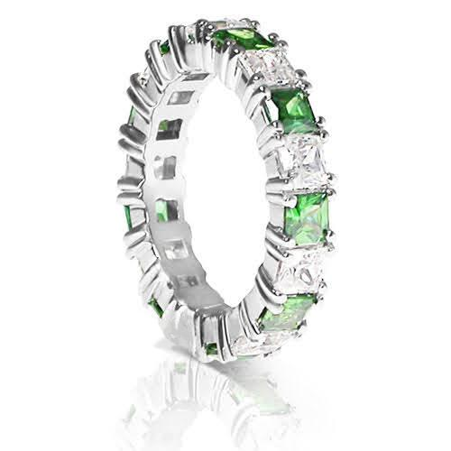 4.70 CT Princess Cut Green Emeralds & Diamonds - Eternity Ring