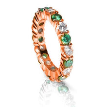 Load image into Gallery viewer, 4.10 CT Round Cut Green Emeralds & Diamonds - Eternity Ring