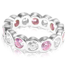 Load image into Gallery viewer, 3.20 CT Round Cut Pink Sapphires & Diamonds - Eternity Ring