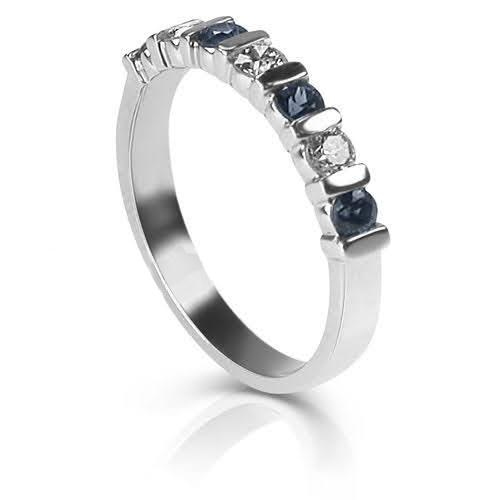 1.05 CT Round Cut Blue Sapphires & Diamonds - Wedding Band