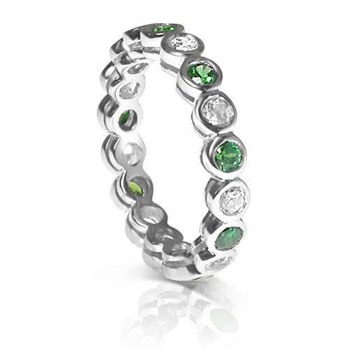 1.55 CT Round Cut Green Emeralds & Diamonds - Eternity Ring
