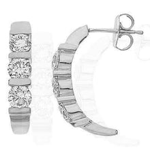 Load image into Gallery viewer, 0.60 CT Round Cut Diamonds - Three Stone Earrings