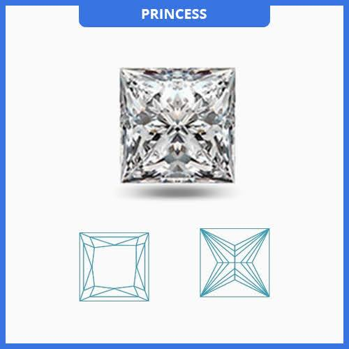 Certified 0.5CT E/VS2 Princess Cut Diamond