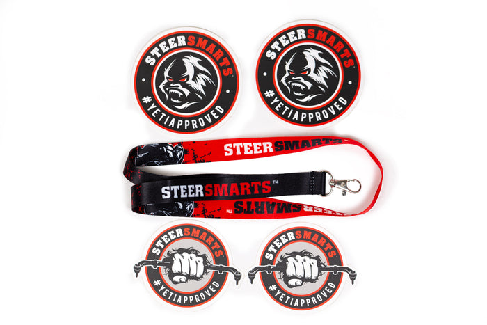 Steer Smarts Yeti Face / Yeti Fist Sticker 4-Pack + Lanyard