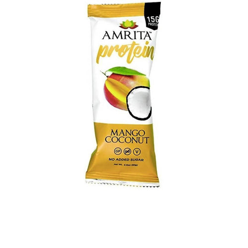 Farm2Me - pantry - Amrita Health Foods - Mango Coconut High Protein Bar - 12 x 2.12 oz - Mango Coconut High Protein Bar - 12 x 2.12 oz -
