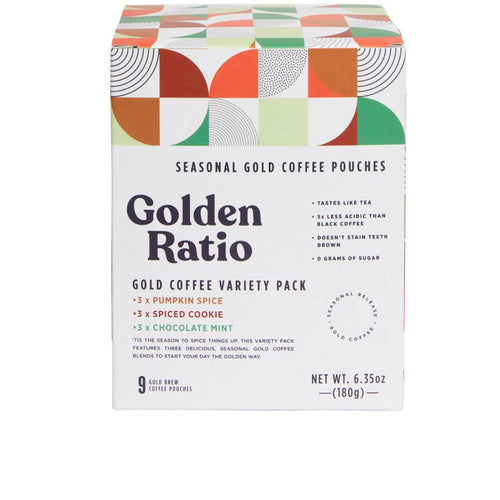 Farm2Me - Beverage - Golden Ratio Coffee - Gold Coffee Pouch Seasonal Variety Box - 6 boxes x 9-pack - Gold Coffee Pouch Seasonal Variety Box - 6 boxes x 9-pack -