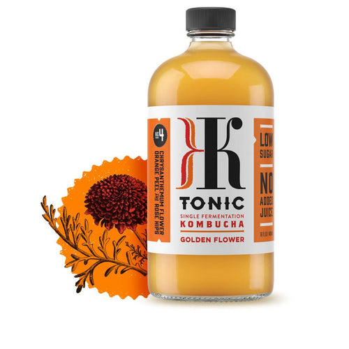 Farm2Me - Beverage - KTonic Kombucha - Golden Flower Kombucha Bottle - 12 x 16oz - Golden Flower Kombucha Bottle - 12 x 16oz -