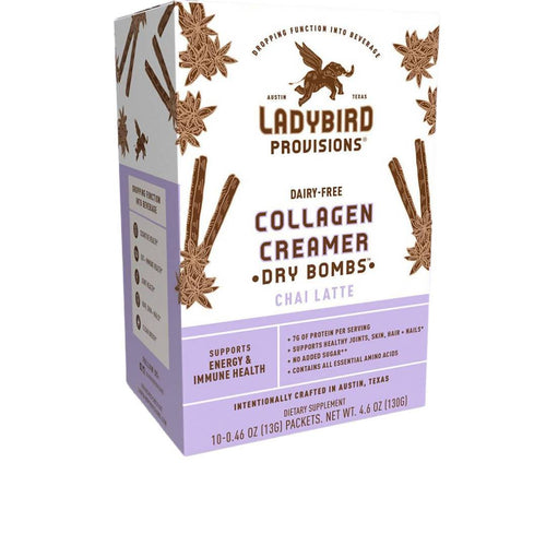 Farm2Me - Dairy - Ladybird Provisions, LLC - Chai Latte, Dairy-Free Collagen Creamer Packet Box - 6 Boxes x 10 Packets (0.46oz Packet) - Chai Latte, Dairy-Free Collagen Creamer Packet Box - 6 Boxes x 10 Packets (0.46oz Packet) - 852452007133