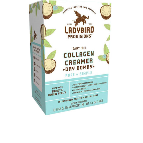Farm2Me - Dairy - Ladybird Provisions, LLC - Pure + Simple, Dairy-Free Collagen Creamer Powder Packet Box - 6 Boxes x 10 Packets - Pure + Simple, Dairy-Free Collagen Creamer Powder Packet Box - 6 Boxes x 10 Packets - 852452007126