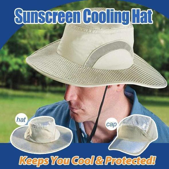 Sunstroke Prevented Cooling Hat - Hot Summer Wide Brim Sun Hat UV Protection Arctic Cap Hat Ice Cap Sunscreen Hydro Bucket Hat