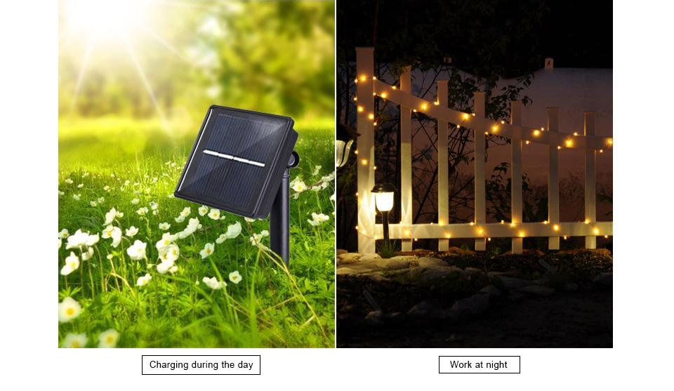 Starlight LED Solar Light - Dimmable LED Outdoor Solar String Lights Fairy Holiday Christmas Party Garland Garden Waterproof