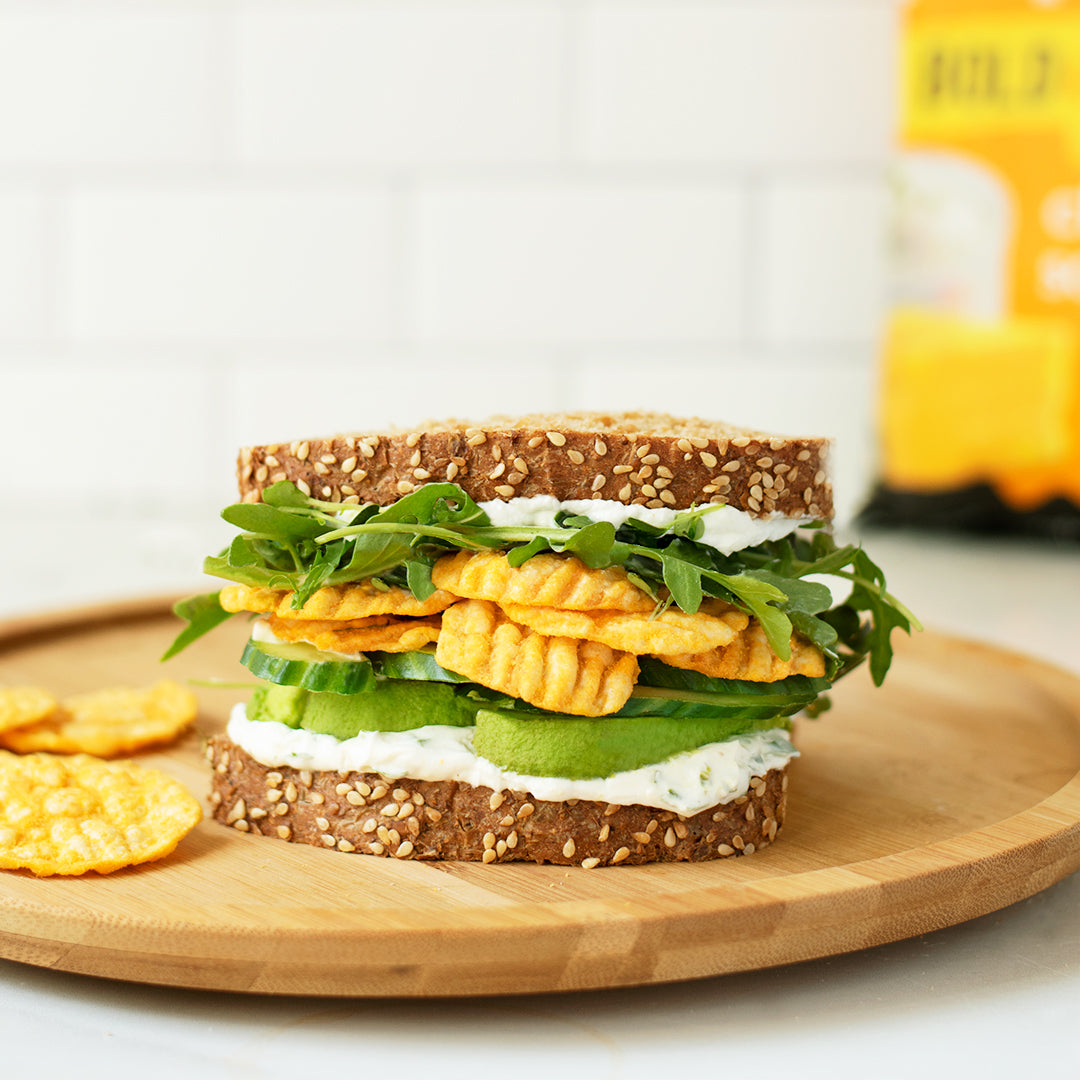 sandwich recipe with avocado, cream cheese, cheddar and sour cream popchips ridges and lettuce