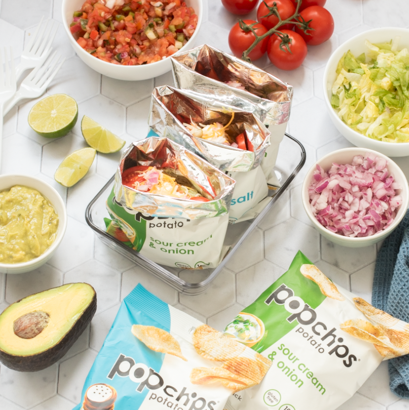 recipe image of tacos in a single serve popchips bag
