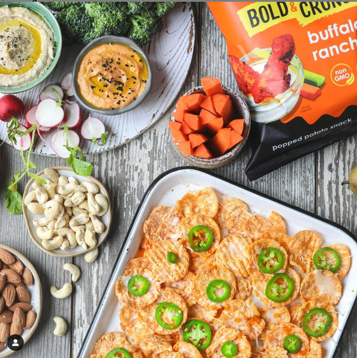 nacho recipe with buffalo ranch popchips, jalapenos and various dips