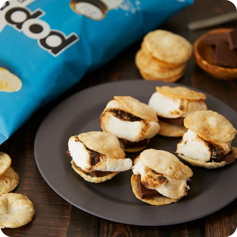 s'mores recipe with marshmallow and chocolate between two sea salt popchips