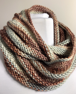 Knit Infinity Scarf - Shades of Brown and Gray