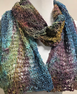 Hand Knit  Hand Dyed Cotton Scarf