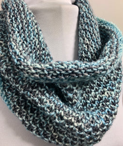 Textured Cowl in Shades of Blue & Gray
