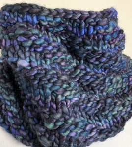 Bulky Knit Cowl - Shades of Blue & Purples