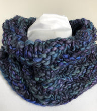 Load image into Gallery viewer, Bulky Knit Cowl - Shades of Blue & Purples