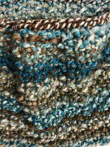 Chunky Hand Knit Cowl - Blues & Browns