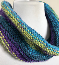 Load image into Gallery viewer, Striped Knit Cowl - Blues, Greens, Purples