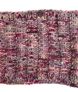 Bulky Knit Cowl in Shades of Burgundy & Gray