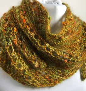 Hand Knit Fall Colors Bandana Scarf