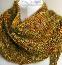 Load image into Gallery viewer, Hand Knit Fall Colors Bandana Scarf
