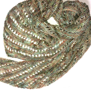 Asymmetrical Scarf in Shades of Sand & Sea