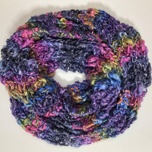 Hand Knit Art Yarn Cowl - Shades of Purple and Raspberry