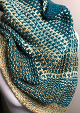 Load image into Gallery viewer, Hand Knit Bandana Cowl - Teal & Beige