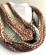Load image into Gallery viewer, Knit Infinity Scarf - Shades of Brown and Gray