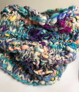 Art Yarn Hand Knit Cowl