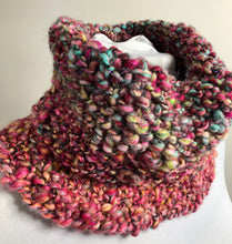 Load image into Gallery viewer, Chunky Hand Spun Hand Knit Cowl - Shades of Pink & Blue