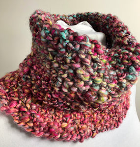 Chunky Hand Spun Hand Knit Cowl - Shades of Pink & Blue