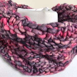 Bulky Knit Cowl - Shades of Lavender and Pink